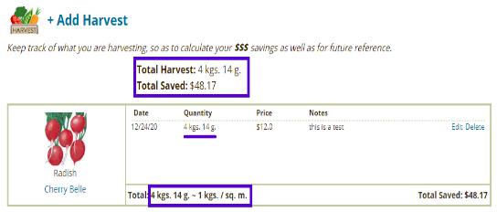 metric system in harvest